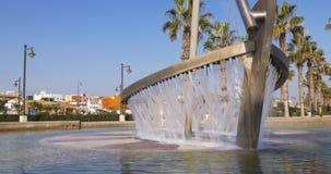 Valencia beach bay boat fountain 4k spain. Spain valencia beach bay boat fountain 4k stock video footage