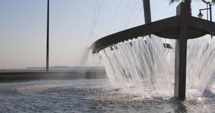 Valencia beach boat fountain 4k spain day light. Valencia city beach boat fountain 4k day light spain stock footage