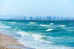 Valencia beach of El Saler with port  background Stock Photo