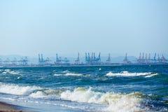 Valencia beach of El Saler with port  background Stock Photos