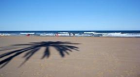 Valencia beach. Surfers and palm shade on Valencia beach Stock Photos