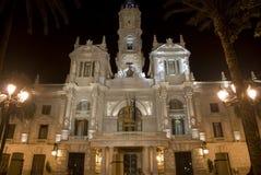 Valencia bij nacht Stock Fotografie