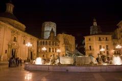 Valencia bij nacht royalty-vrije stock afbeeldingen