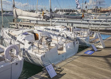 Valencia Boat Show at Marina Real Juan Carlos I stock photography