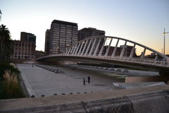 Valencia bridge on a Bright Evening Royalty Free Stock Photography