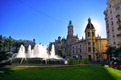 Valencia, capitale, città, fonte d'acqua, verde, cielo, fontana fotografie stock libere da diritti