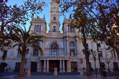 Valencia, capitale, città Hall Square, bandiere, Europa immagini stock