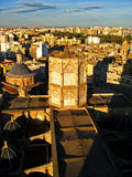 Valencia, Cathedral 01. The Miguelete Tower of Valencia Cathedral in Valencia, Spain with an aerial view of the city Royalty Free Stock Photo