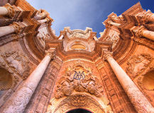 Valencia Cathedral. Baroque façade of the Cathedral of Valencia Stock Photography