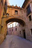 Valencia Cathedral Arch Barchilla street at Spain Stock Image
