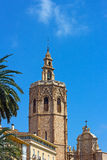 Valencia Cathedral Bell Tower and palm trees. Stock Image
