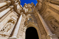 Valencia cathedral door in plaza de la Reina Royalty Free Stock Image
