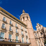 Valencia Cathedral facade and Miguelete Micalet Stock Photos