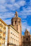 Valencia cathedral and Miguelete in plaza de la Reina Stock Photography