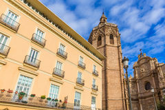 Valencia cathedral and Miguelete in plaza de la Reina. Square Spain royalty free stock photo