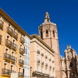 Valencia cathedral and Miguelete in spain Stock Photo