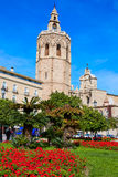 Valencia Cathedral and Miguelete tower Micalet Royalty Free Stock Images