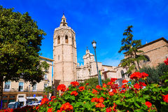 Valencia Cathedral and Miguelete tower Micalet Stock Image