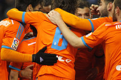Valencia CF players hugging Royalty Free Stock Photography