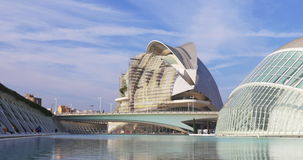 Valencia city of art opera house construction panorama 4k spain. Europe stock video footage