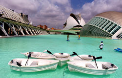 Valencia City of Arts and Sciences aquatic sports. VALENCIA/SPAIN - 22 JULY 2017: Tourists doing water sports in front of Valencia`s City of Arts and Sciences Royalty Free Stock Photography