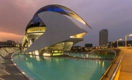 Valencia - City of Arts & Sciences - Spain. The futuristic architecture of the Ciutat de les Arts i de les Ciencies (City of Arts & Sciences) the the city of Stock Photography