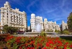 Valencia city Ayuntamiento square Plaza fountain. Of Spain royalty free stock photography