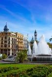 Valencia city Ayuntamiento square Plaza fountain Royalty Free Stock Photos