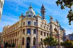 Valencia city Correos building Ayuntamiento square Stock Photos