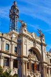 Valencia city Correos building Ayuntamiento square Royalty Free Stock Photos