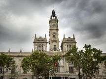 Valencia City Hall building on a cloudy day. Ayuntamiento de Valencia - Valencia City Hall building on a cloudy day, Valencia, Spain stock images