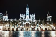 Valencia city hall at night Royalty Free Stock Image