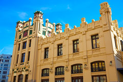 Valencia city railway station from Bailen street Royalty Free Stock Images