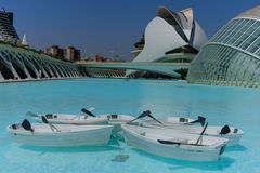 Valencia city of science and art: Futuristic buildings with its reflection in water and boats 01 Stock Images