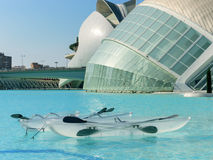 Valencia city of science and art: Futuristic buildings with its reflection in water and transparent boats 01 royalty free stock photography