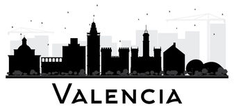 Valencia City skyline black and white silhouette. Stock Photography