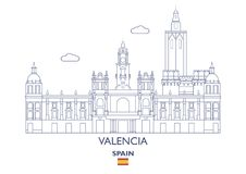 Valencia City Skyline, Espagne Photo stock