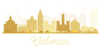 Valencia City skyline golden silhouette. Stock Images