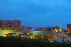 Valencia city skyline over the Monteolivete bridge at dusk Stock Photography