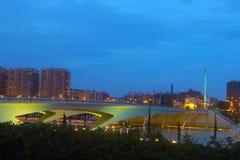 Valencia city skyline over the Monteolivete bridge at dusk Stock Photography