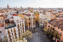 Valencia city in Spain. Aerial cityscape view from Serranos towers on the old town of Valencia city in Spain Stock Photo