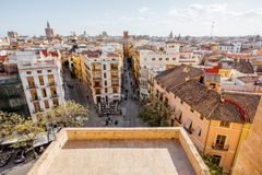 Valencia city in Spain. Aerial cityscape view from Serranos towers on the old town of Valencia city in Spain Royalty Free Stock Images