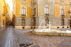 Valencia city in Spain. Street view with foutain and national museum of ceramics and decorative arts building in Valencia city, Spain Royalty Free Stock Photos