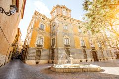 Valencia city in Spain. Street view with foutain and national museum of ceramics and decorative arts building in Valencia city, Spain Royalty Free Stock Photography