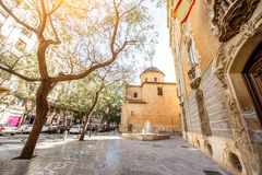 Valencia city in Spain. Street view with saint Juan church and museum of ceramics and decorative arts building in Valencia city, Spain Royalty Free Stock Photos