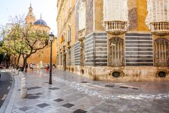 Valencia city in Spain. Street view with saint Juan church and museum of ceramics and decorative arts building in Valencia city, Spain Stock Image