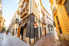 Valencia city in Spain. View on the beautiful street crossing at the old town of Valencia city in Spain Stock Images