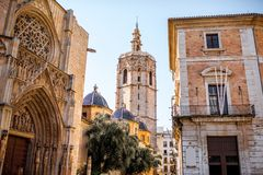 Valencia city in Spain. View in the cathedral tower in the centre of Valencia city during the sunny day in Spain Stock Photos