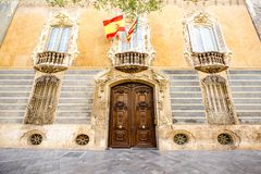 Valencia city in Spain. View on the facade of the national museum of ceramics and decorative arts building with spanish flag in Valencia city, Spain Stock Images
