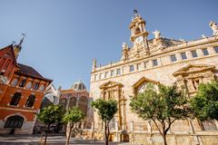 Valencia city in Spain. View on the saint Joan church near the central market during the morning light in Valencia city in Spain Stock Photography